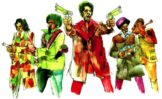 David Choe - Black Dynamite - watercolor