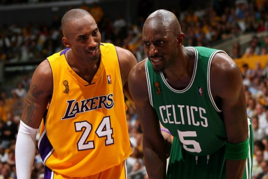 Kobe Bryant & Kevin Garnett exchange pleasantries