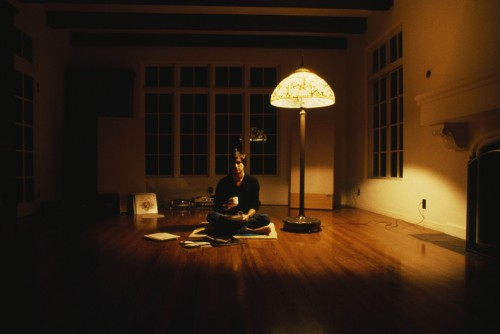 Steve Jobs on the floor of his apartment