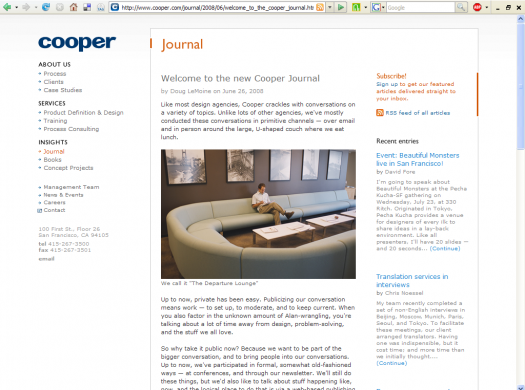 Welcome to the Cooper Journal