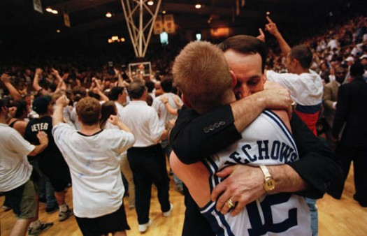 Wojo and Coach K share a moment