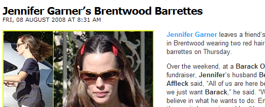 Jennifer Garner wears barrettes